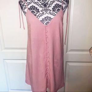 TOPSHOP Pink Buttoned Down Tank Linen Dress
